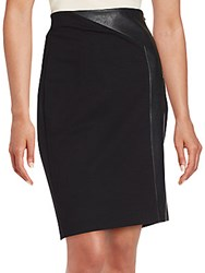 Saks Fifth Avenue Solid Paneled Pencil Skirt Black