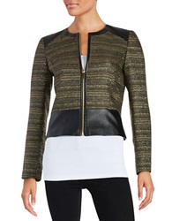 Tahari Arthur S. Levine Faux Leather Tweed Blazer Gold Black