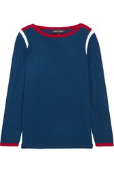 Vanessa Seward Desmond Color Block Merino Wool Sweater Blue