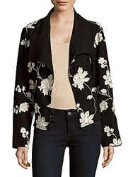 August Silk Printed Front Open Jacket Black White
