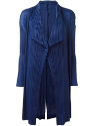 Issey Miyake Pleats Please By Pleated Draped Ligthweight Coat Blue