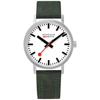 Mondaine Unisex Double Stitch Leather Strap Watch Green White A660.30360.16Sbf