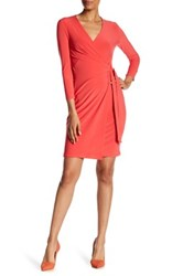 Anne Klein Solid Faux Wrap Dress Red