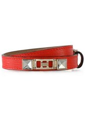Proenza Schouler Textured Leather Silver And Gold Tone Wrap Bracelet Tomato Red
