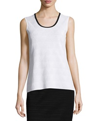 Ming Wang Triangle Jacquard Scoop Neck Tank White Black