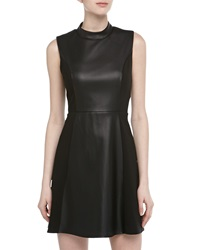 Romeo And Juliet Couture Collared Faux Leather Dress Black