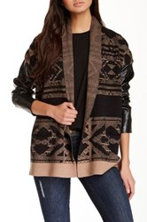 Twelfth St. By Cynthia Vincent Faux Leather Sleeve Log Cabin Sweater Multi