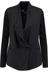 Vince Draped Crepe De Chine And Ribbed Knit Blazer Black