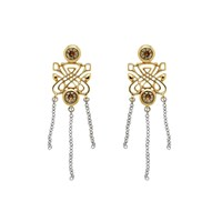 Biba Gold Emblem Crystal Tassel Earrings