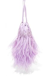 Attico Feather Trimmed Beaded Satin Pouch Lilac