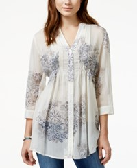 American Rag Printed Pintucked Blouse Only At Macy's