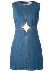 Courreges Cut Out Detail Denim Dress Women Cotton 40 Blue