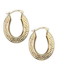 Macy's 10K Gold Hoop Earrings Oval Quilt