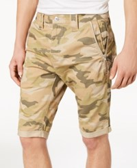Guess Men's Carter Stretch Twill Camo Shorts Traditional Camo Sand