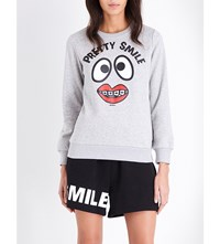 Mini Cream Pretty Smile Cotton Blend Sweatshirt Grey