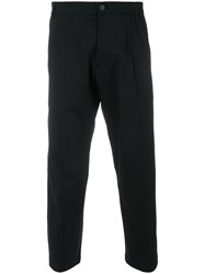 Low Brand Cropped Trousers Cotton Spandex Elastane Wool Black