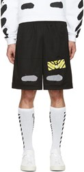 Off White Black Spray Brushed Diagonals Shorts