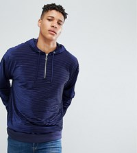 Asos Tall Oversized Velour Striped Hoodie With Half Zip Navy