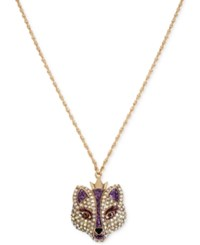 Betsey Johnson Gold Tone Embellished Fox Pendant Necklace