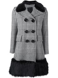 Marc Jacobs Contrast Trim Plaid Coat Black