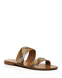 Frye Ruth Woven Slide Sandals Tan White Multi
