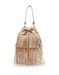 Betsey Johnson Fringed Faux Leather Bucket Bag Spice
