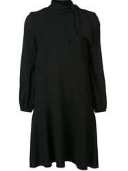 Les Copains Pussy Bow Neck Dress Black