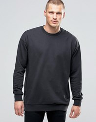 Religion Crew Neck Sweat With Side Zip Detail Washed Black