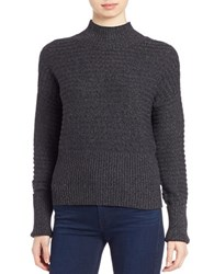 William Rast Rib Knit Striped Sweater Black Charcoal