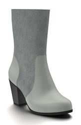 Shoes Of Prey Women's Block Heel Boot Dark Gray Suede Leather