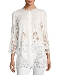 Elie Tahari Dillon 3 4 Sleeve Floral Eyelet Lace Blouse Off White