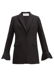 Valentino Crepe Couture Fluted Sleeve Wool Blend Jacket Black