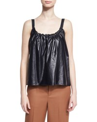 Helmut Lang Smocked Leather Camisole Navy