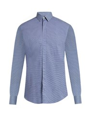 Lanvin Multi Checked Cotton Poplin Shirt Blue Multi