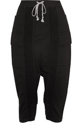 Rick Owens Puppy Swinger Cropped Paneled Denim Tapered Pants Black