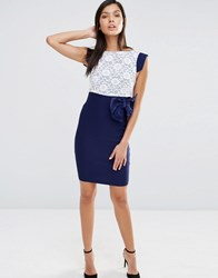Vesper Cap Sleeve Dress With Lace Top Navy