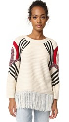Moon River Fringe Sweater Natural