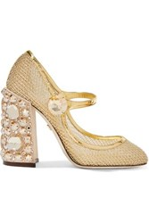 Dolce And Gabbana Crystal Embellished Metallic Mesh Mary Jane Pumps It36