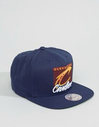 Mitchell And Ness Snapback Cap Easy Three Digital Cleveland Cavaliers Navy