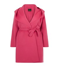 Marina Rinaldi Double Layer Wrap Wool Coat Pink