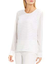 Vince Camuto Petite Roundneck Sheer Sleeve Ribbon Striped Blouse Ivory