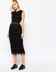 The Laden Showroom X Meekat Tassle Fringe Midi Skirt Black