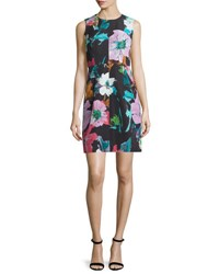 Milly Coco Paper Floral Print Dress Black