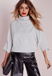 Missguided High Neck Striped Kimono Sleeve Crop Top White White