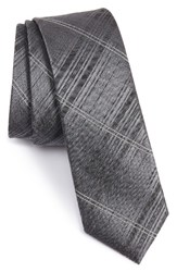 Calibrate Men's Silves Stone Plaid Skinny Tie Charcoal