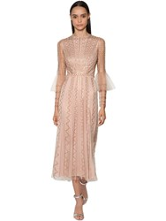 Temperley London Bead And Sequin Embellished Tulle Dress Beige