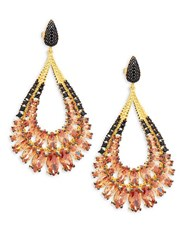 Azaara Pink And Black Crystal And Sterling Silver Drop Earrings No Color