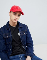Huf Corduroy Baseball Cap With Script Logo In Red
