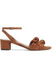 Tabitha Simmons Eloy Bow Embellished Suede Sandals Camel Gbp