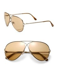 Tom Ford Private Collection Tom N.4 59Mm Titanium Aviator Sunglasses Rose Gold Brown